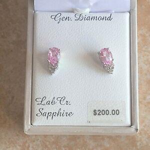 ~Everlasting~ Lab Created Pink Sapphire & Genuine Diamond 925 Sterling Earrings