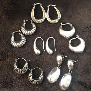 Earrings lot of 6 pair sterling silver pierced 26g