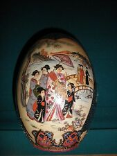 "Large 9""x6"" Chinese Egg Hand Painted Porcelain Highly Raised Gold Moriage"