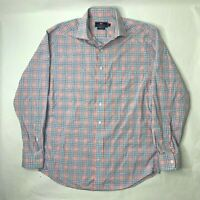 Vineyard Vines Mens Medium Cooper Shirt Pink Blue Plaid Long Sleeve Button Front