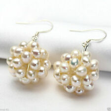 Pair Natural White Freshwater Pearl Cluster Sterling Silver Hook Dangle Earrings