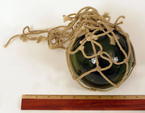 BEAUTIFUL VINTAGE GREEN GLASS ROPE NET HAND BLOWN BUOY FISHING FLOAT BOATING !!