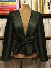 New unworn AMANDA WAKELEY 100% silk formal tuxedo green jacket blazer UK 12 US 8
