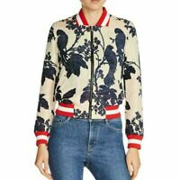 MAJE Barty jacquard floral bird embroidered bomber varsity jacket Size 36 S NEW