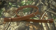 "LEATHER_RIFLE GUN SLING_Amish_Hand Made_1""_adj. 30"" to 42""_BROWN"