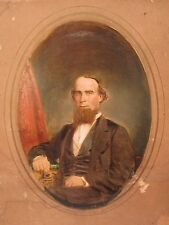 1863 CIVIL WAR ERA DAGUERREIAN PAINTED PHOTO BROADBENT CHESTNUT ST PHILADELPHIA