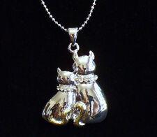 Necklace Silvertone w/Rhinestone Collars Cuddling Mama Cat & Kitten