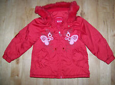 Girls Pampolina Red Fur Trimmed Hooded Coat Size 104. Age 4-5.