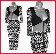 Karen Millen Black White Fine Knit Zig Zag 3/4 Sleeve Office Work Jumper Dress 2