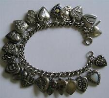 """Vintage 40s Sterling Silver Enamel PUFFY HEART Charm Bracelet ~ 21 Hearts ~ 7.5"""""""