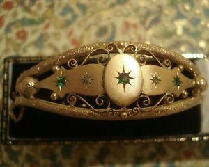 Beautiful Antique Edwardian: Emerald Paste Stones & Diamonds Gold Filled Bangle