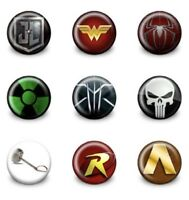 NEW Lot of 9 Superheroes Badges #2 - 3cms diameter Party Favours Loot Bag