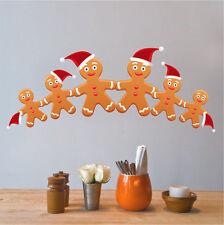 Gingerbread Man Wall Decal Winter Christmas Cookies Seasonal Decor Vinyl, h33