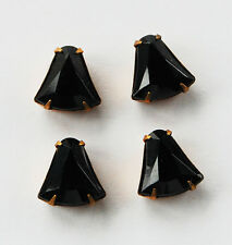 VINTAGE GLASS BELL JEWELRY PARTS BRASS SETTING • 13mm FACETED • JET BLACK