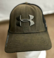 Under Armour Men's Golf Hat Size L/XL Embroidered Black/Brown Baseball Cap EUC
