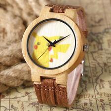 Pokemon Pikachu Quartz Wrist Watch Boy Kid Bamboo Wood Watch Leather Strap Gift