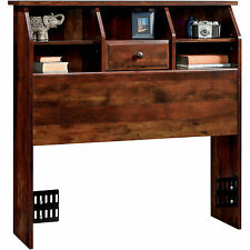 Twin Storage Headboard With Bookcase Drawer Rustic Cherry Bedroom Furniture Kids