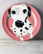 NEW ANTHROPOLOGIE DESSERT SALAD PLATE~PINK DALMATIAN~DOG A DAY~ARTIST SALLY MUIR