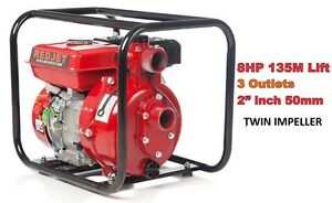 "RED JET 2"" PETROL HIGH PRESSURE WATER TRANSFER PUMP FIRE FIGHTING IRRIGATION 135"