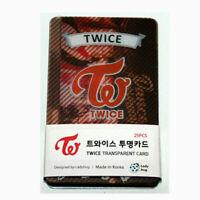 KPOP IDOL TWICE Transparent Photo Card 25pcs + Tracking Number