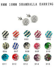 SHAMBALLA STYLE STUD EARRINGS - 8MM 10MM CRYSTAL CLAY BEADS - TOP QUALITY