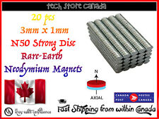 20 pcs 3x1mm N52 Super Strong Round Fridge Magnet Rare Earth Neodymium Disc