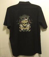 New Rockabilly Lucky 13 Tattoo Skull Pistons Dice Black Mechanic Work Shirt L