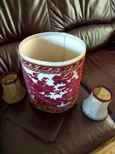 Lampenschirme vintage Stoff Verziert - 1 x groß, 2 x  klein