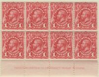 1d Carmine-red KGV  Engraved. Imprint Block of 8 with Variety. MUH.