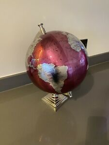 Pink And Chrome world globe 30cm X 30cm Used In Very Good Condition