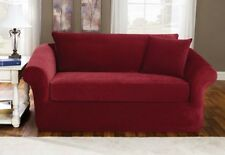 Sofa Slipcover Sure Fit Stretch Pique Garnet with Loose Back & Box Style Cushion