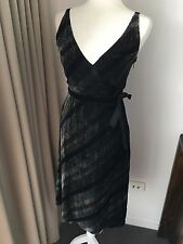 SEDUCE Sz 8 Black/Silver Velvet Dress Retro Style Silk Blend Luxury Fabric EUC