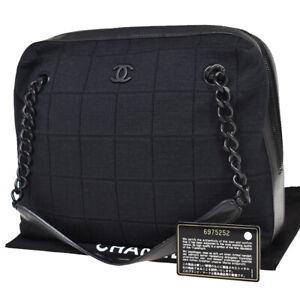 CHANEL CC Chocolate Bar Chain Shoulder Bag Cotton Leather Black Vintage 82AC470