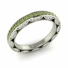1.03 Ct Natural Round Peridot With SI Diamond Wedding Ring in 14k White Gold