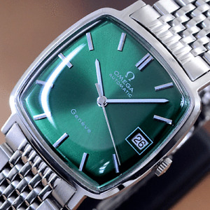 VINTAGE OMEGA GENEVE AUTOMATIC EMERALD DIAL DATE DRESS MEN'S WATCH RARE ITEMS