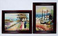 Original Art Landscape Oil Painting Pair Framed