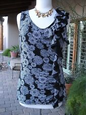 SEXY-! NWT ELLE Black White Floral Ruffle Ruched Salsa Tunic Tank Shirt Top  M