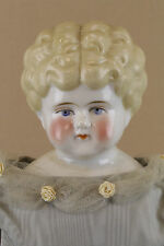 "21"" lovely antique German blonde china head doll w replacement cloth body"