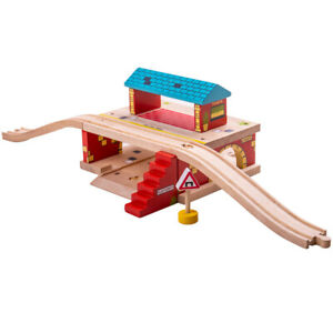 Bigjigs Rail Wooden Overground Station Railway Train Track Accessories Playset
