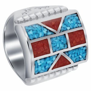 Men's Sterling Silver Turquoise & Coral Gemstone Chip Inlay Mosaic Design Ring