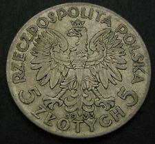 POLAND 5 Zlotych 1933 (w) - Silver - Queen Jadwiga - F - 3355