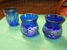 COBALT Pair Bohemia Glass Candle Holders VOTIVES & FREE Candle Cover........SALE