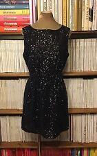 Broadway & Broome Madewell Abito Di Paillettes Nero Grigio UK 12 US 8 Fit Flare