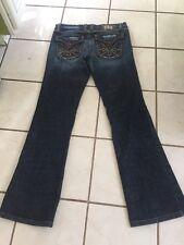 Plastic by Gly Dark Denim Low Rise Boot Cut Jeans w/ Leather Trim Flap Pocket 27