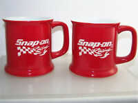 Pair of SNAP ON Racing Mugs Etched Logo 14oz New with Tags