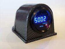 "2"" Digital Tach Blue LED Display Sm Lens 9999 RPM - Warning Light w/ Faux Pod"