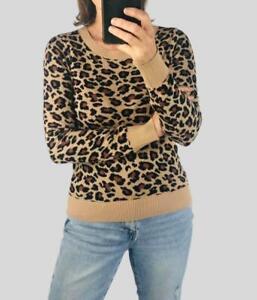Bon Marche Womens Ladies Animal Leopard Print Round Neck Long Sleeve Jumper Knit