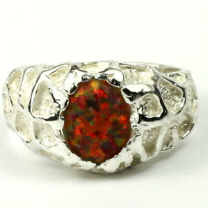 CREATED RED BROWN OPAL Sterling Silver Men's Ring -Handmade • SR168