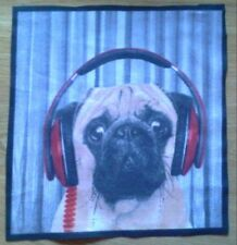 Animal Selfie Pug Dog Fabric, Material Remnant. 8.5 inch x 8 inch