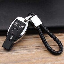 Car Logo Key Chain Fobs Leather Weave Straps Keyring For Mazda Ford Honda Jeep